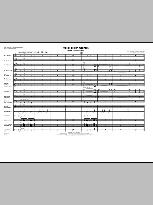 Rock and Roll - Part II (The Hey Song) (COMPLETE) sheet music for marching band by Paul Lavender and Mike Leander. Score Image Preview.