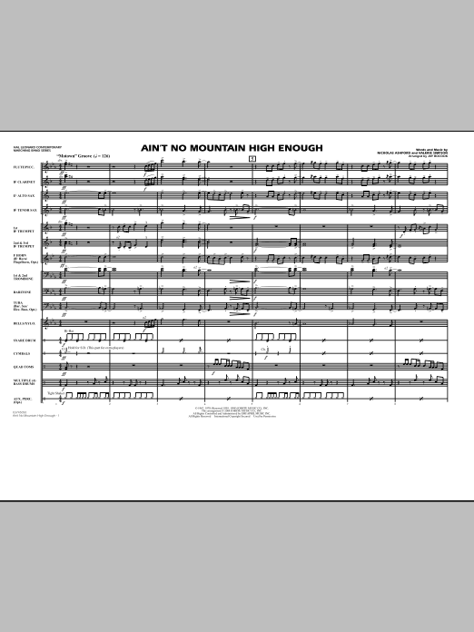 Ain't No Mountain High Enough (COMPLETE) sheet music for marching band by Valerie Simpson, Nickolas Ashford and Jay Bocook. Score Image Preview.