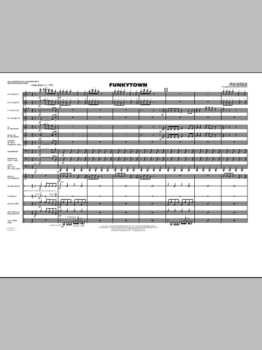 Funkytown (COMPLETE) sheet music for marching band by Michael Brown and Steven Greenberg. Score Image Preview.