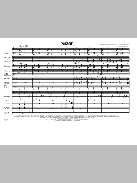 Yeah! (COMPLETE) sheet music for marching band by Paul Murtha, Christopher Bridges, Jonathan Smith and Sean Garrett. Score Image Preview.