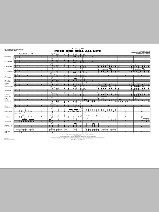 Rock And Roll All Nite (COMPLETE) sheet music for marching band by Paul Stanley, Gene Simmons, KISS and Paul Murtha. Score Image Preview.