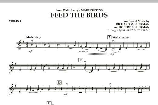 Feed the Birds (from Mary Poppins) - Violin 1 - Sheet Music