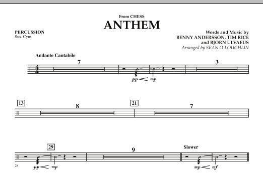 """Anthem (from """"Chess"""") - Percussion (Orchestra)"""