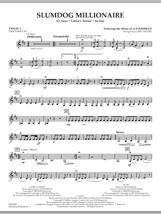 Slumdog Millionaire - Violin 3 (Viola Treble Clef) (Orchestra)