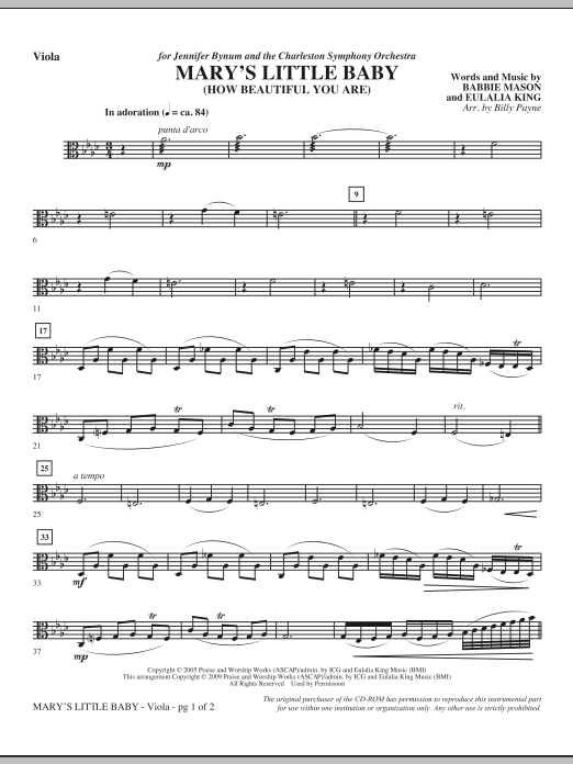 Mary's Little Baby - Viola Sheet Music