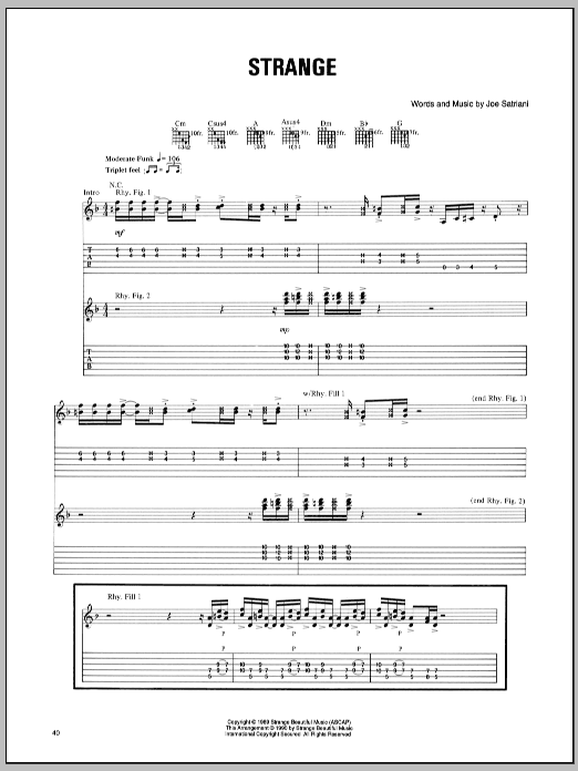 Tablature guitare Strange de Joe Satriani - Tablature Guitare