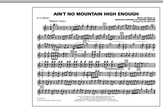 Ain't No Mountain High Enough - Bb Clarinet (Marching Band)