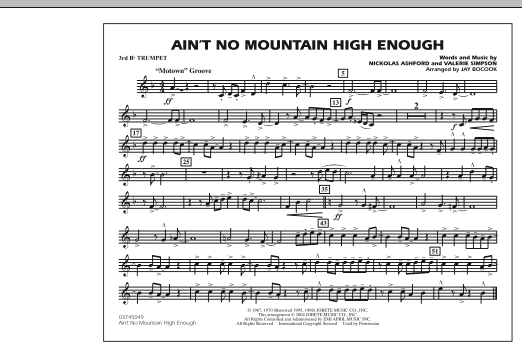Ain't No Mountain High Enough - 3rd Bb Trumpet (Marching Band)