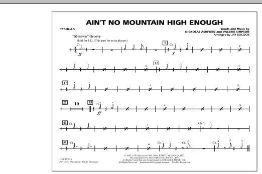Ain't No Mountain High Enough - Cymbals (Marching Band)