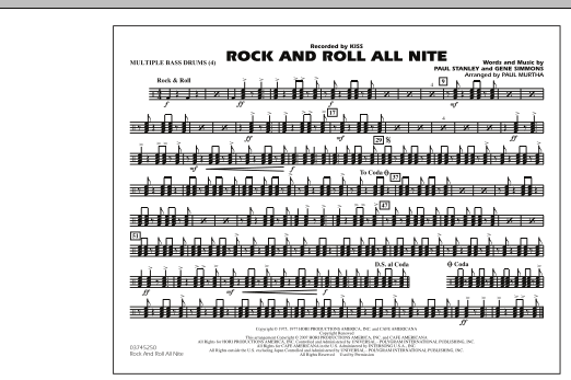Rock And Roll All Nite Multiple Bass Drums By Paul Murtha Marching Band Digital Sheet Music