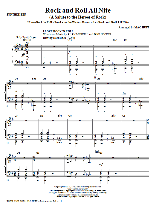 Rock And Roll All Nite (A Salute to The Heroes Of Rock) (complete set of parts) sheet music for orchestra/band (Rhythm) by Mac Huff. Score Image Preview.