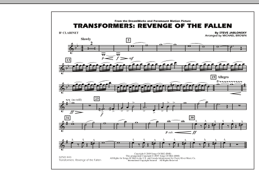 page one of Transformers: Revenge Of The Fallen - Bb ClarinetASALTTEXT