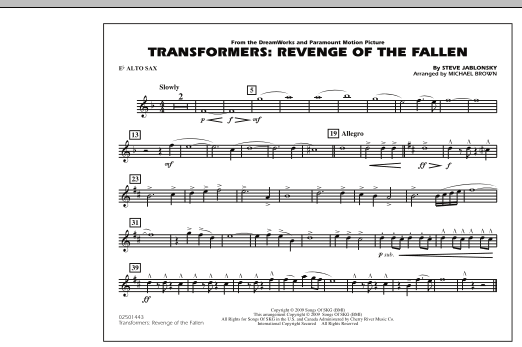 page one of Transformers: Revenge Of The Fallen - Eb Alto SaxASALTTEXT