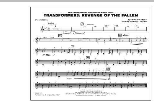 Transformers: Revenge Of The Fallen - Bb Tenor Sax (Marching Band)