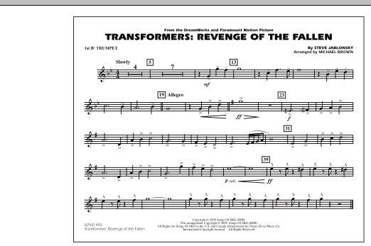 Transformers: Revenge Of The Fallen - 1st Bb Trumpet (Marching Band)