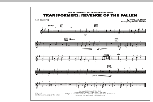 Transformers: Revenge Of The Fallen - 3rd Bb Trumpet (Marching Band)