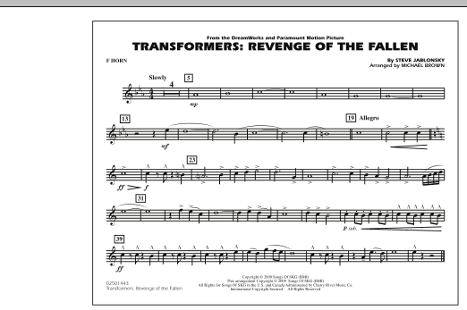 Transformers: Revenge Of The Fallen - F Horn (Marching Band)