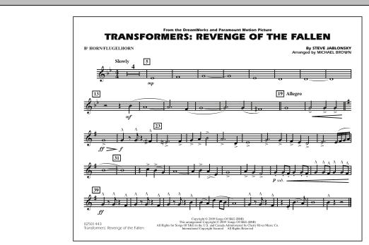 page one of Transformers: Revenge Of The Fallen - Bb Horn/FlugelhornASALTTEXT