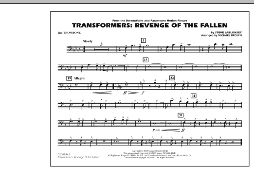 page one of Transformers: Revenge Of The Fallen - 2nd TromboneASALTTEXT