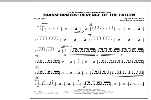 Transformers: Revenge Of The Fallen - Snare Drum (Marching Band)