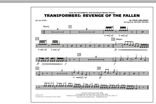 Transformers: Revenge Of The Fallen - Quad Toms (Marching Band)