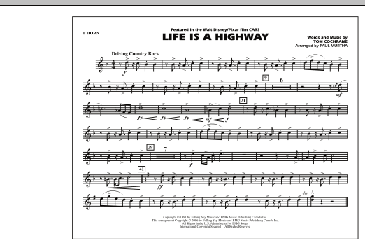Life Is A Highway - F Horn (Marching Band)