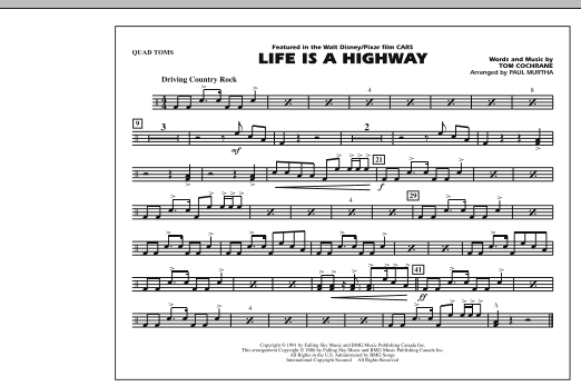 Life Is A Highway - Quad Toms (Marching Band)