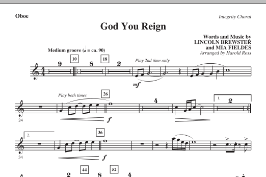 God You Reign - Oboe (Choir Instrumental Pak)