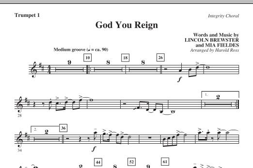 God You Reign - Trumpet 1 (Choir Instrumental Pak)