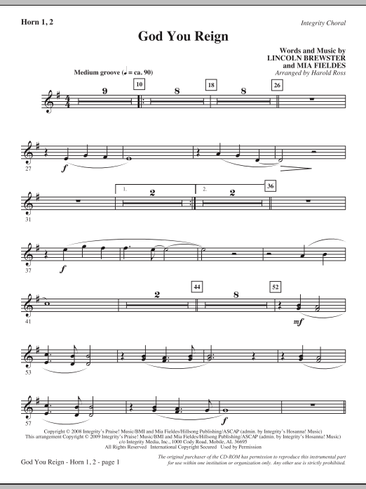God You Reign - F Horn (Choir Instrumental Pak)