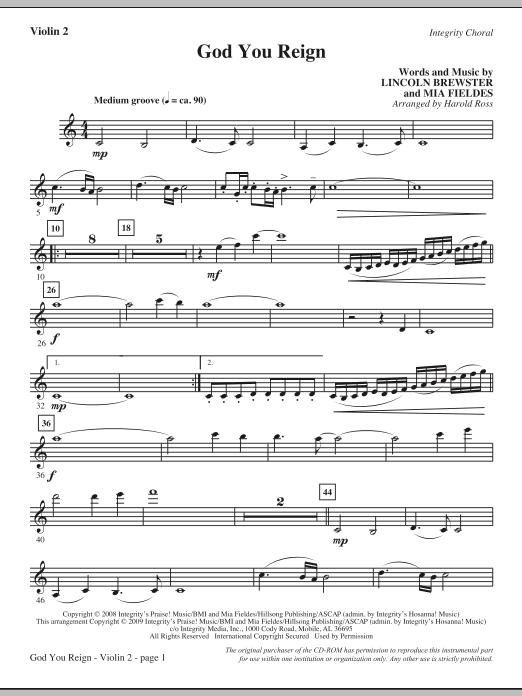 God You Reign - Violin 2 (Choir Instrumental Pak)