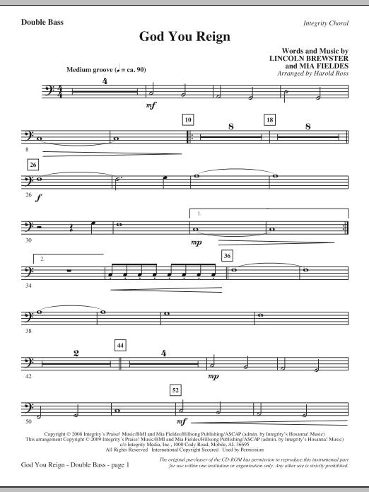 God You Reign - Double Bass (Choir Instrumental Pak)