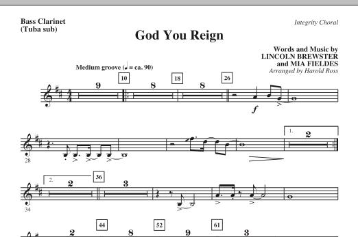 God You Reign - Bass Clarinet (Tuba sub.) (Choir Instrumental Pak)