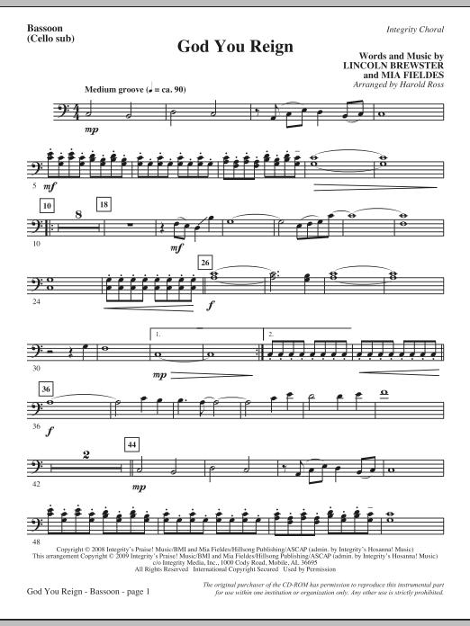 God You Reign - Bassoon (Cello sub.) (Choir Instrumental Pak)