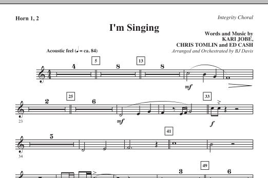 I'm Singing - F Horn 1,2 (Choir Instrumental Pak)