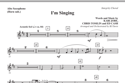 I'm Singing - Alto Sax (Horn sub.) (Choir Instrumental Pak)