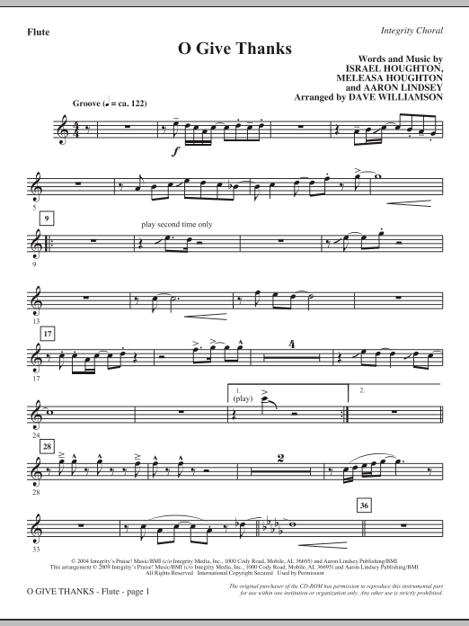 O Give Thanks - Flute Sheet Music