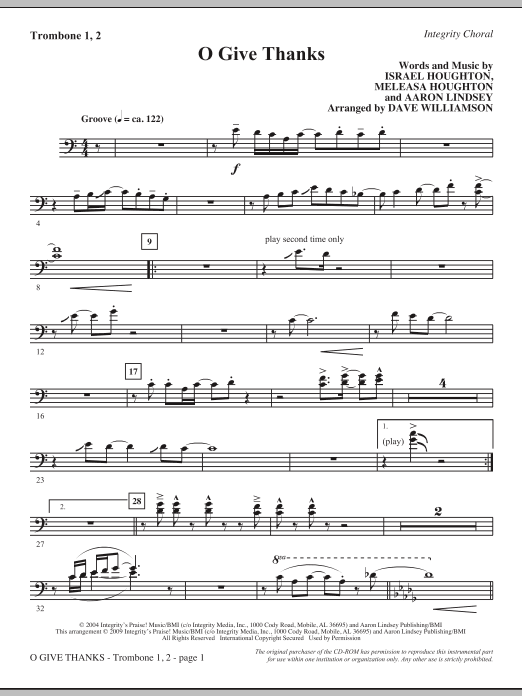 O Give Thanks - Trombone 1 & 2 Sheet Music