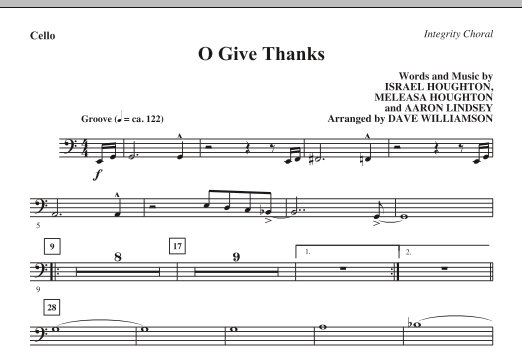 O Give Thanks - Cello (Choir Instrumental Pak)