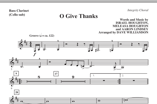 O Give Thanks - Bass Clarinet (Cello sub.) Sheet Music