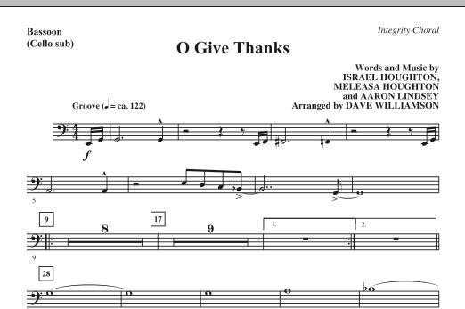 O Give Thanks - Bassoon (Cello sub.) Sheet Music