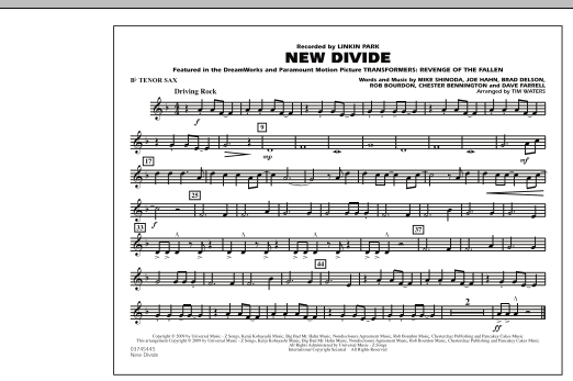 """New Divide (from """"Transformers: Revenge Of The Fallen"""") - Bb Tenor Sax (Marching Band)"""
