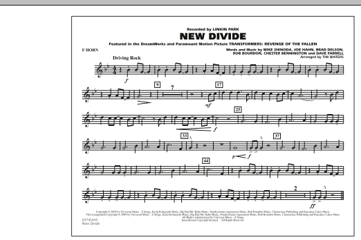 "New Divide (from ""Transformers: Revenge Of The Fallen"") - F Horn (Marching Band)"