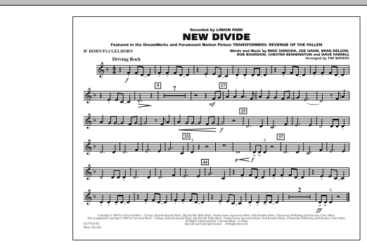"New Divide (from ""Transformers: Revenge Of The Fallen"") - Bb Horn/Flugelhorn (Marching Band)"