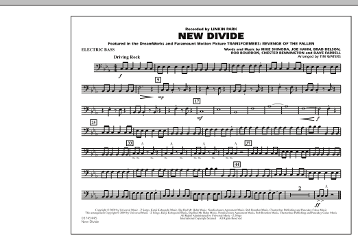 "New Divide (from ""Transformers: Revenge Of The Fallen"") - Electric Bass (Marching Band)"
