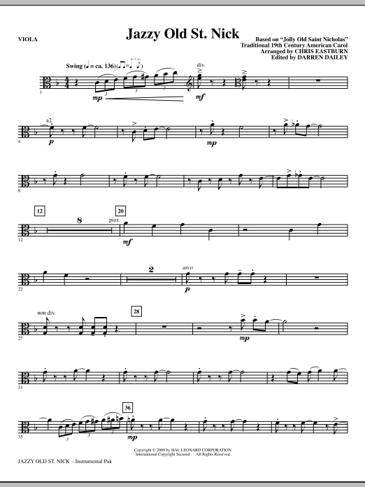 Jazzy Old St. Nick - Viola Sheet Music