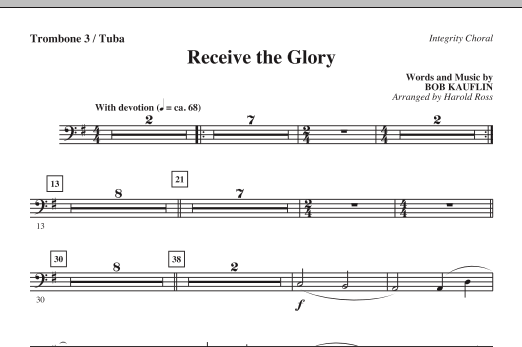 Receive The Glory - Trombone 3/Tuba Sheet Music
