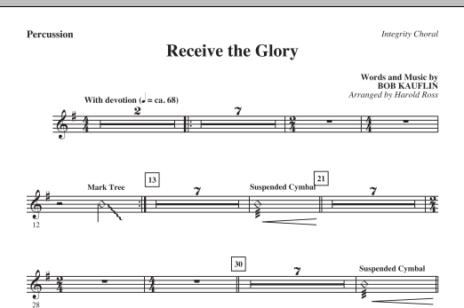 Receive The Glory - Percussion Sheet Music