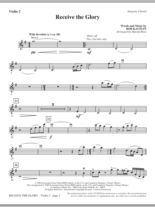 Receive The Glory - Violin 2 (Choir Instrumental Pak)