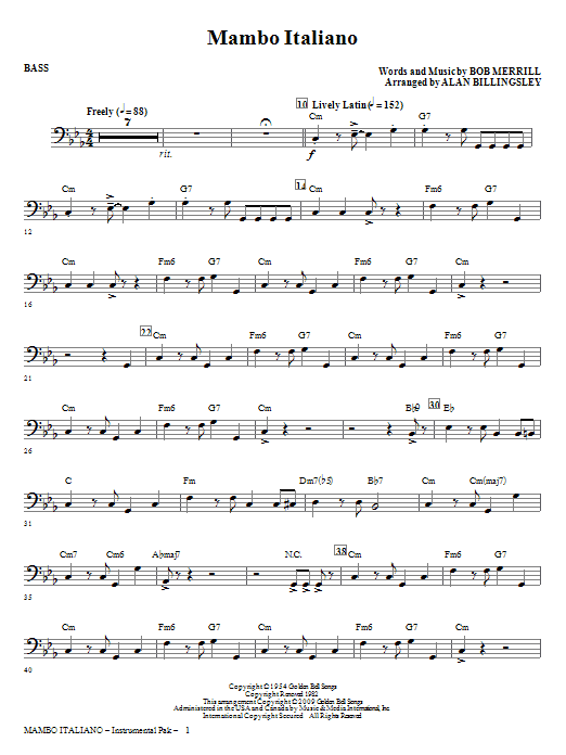 Mambo Italiano (arr. Alan Billingsley) - Bass (Choir Instrumental Pak)
